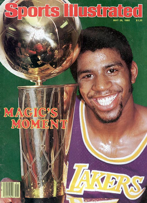 Magic was the Finals MVP three times for the Lakers the '80s. In his rookie season (1980) he was forced to play center in Game 6 against the Sixers because of an injury to Kareem Abdul-Jabbar. Magic finished the clinching game with 42 points, 15 rebounds and six assists, one of the great performances of all time. The Lakers beat Philadelphia again in 1982. In 1987, matched against the Celtics, Magic had another all-time series, averaging 26.2 points, 13 assists, eight rebounds and 2.3 steals as the Lakers won in six games.