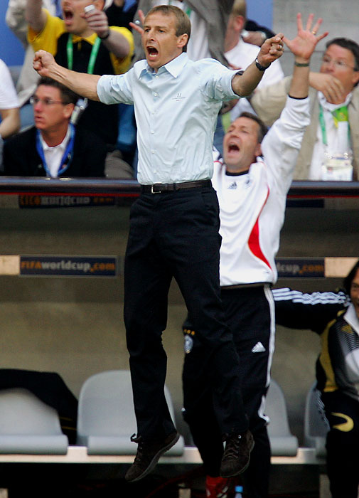 As coach of the German national team, Klinsmann led Germany to a 20-8-6 record and a third place finish in the 2006 World Cup. He stepped down after the tournament.
