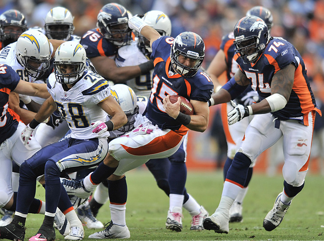 Tebow is hit in the fourth quarter during a run against the San Diego Chargers. He came into the game in the second half and went 4-for-10 for 79 yards and a touchdown in the Broncos' loss.
