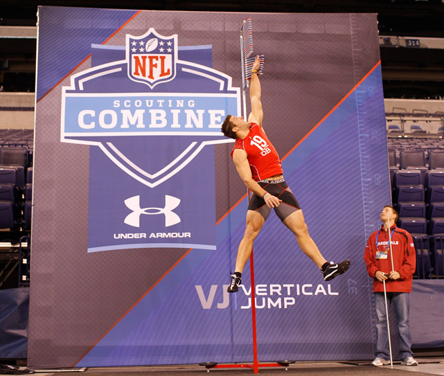 Tebow has his vertical leap tested during the 2010 NFL Combine workouts. He was selected with the 25th pick in the first round.