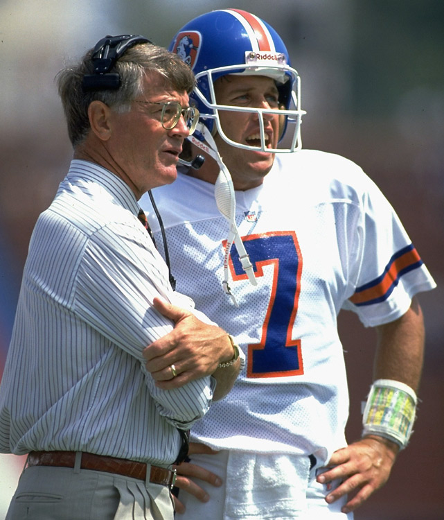 After a trade from Baltimore brought him to Denver, John Elway quarterbacked under Dan Reeves for the first nine years of his career, winning 89 games and three AFC titles. The coach-QB tandem never won a Super Bowl together, but Elway did go on to win two championships with the Broncos towards the end of his career. Ironically, the second title came against Reeves' Falcons in 1999.
