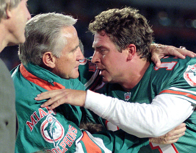Before Belichick and Brady there was Shula and Marino -- who previously held the record over the next winningest duo by nine victories. The tandem never won a Super Bowl together, but dominated the regular season during their 13-year marriage in Miami. Shula holds the record for most career victories by a coach with 347, while Marino's 147 ranks third all time amongst quarterbacks.