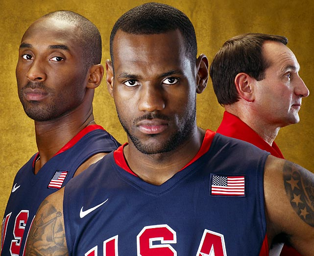 Kobe Bryant and LeBron James pose with their Olympic coach before the 2008 Summer Olympics, where U.S. basketball earned a gold medal. Bryant verbally committed to play for Krzyzewski at Duke before bypassing college basketball to go directly from high school to the NBA.