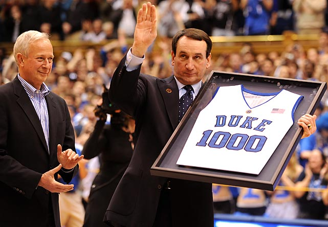 University President Richard Brodhead honors Krzyzewski for coaching his 1,000th career game at Duke.  Krzyzewski is the winningest active head coach, with 900 wins (827 of them at Duke).