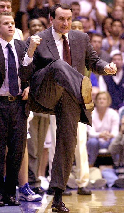 Krzyzewski emphatically stomps his foot during the No. 2 Blue Devils home win over No. 8 Wake Forest in 2001. Naismith winner Shane Battier led Duke to a national championship that season.