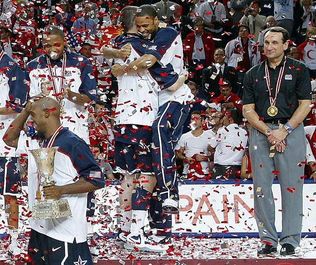Krzyzewski looks on as Chauncey Billups, Kevin Love and Eric Gordon celebrate winning the 2010 World Basketball Championship. Krzyzewski has signed on to coach the 2012 U.S. Olympic team in London.