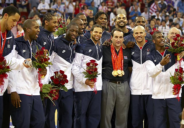 Krzyzewski celebrates with the Olympic team he coached after it defeated Spain in the gold medal game in Beijing. Krzyzewski also coached Team USA to gold at the 2007 and 2010 FIBA World Championships.
