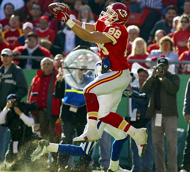 Over an illustrious 15-year career (12 seasons with Kansas City, three  with Atlanta), Gonzalez has chalked up 1,149 receptions and more than  13,000 yards. He's also found the end zone 95 times.   His Credentials:  12-time Pro Bowl selection,  nine-time All-Pro, No. 2 all-time in total catches, 11th-most yards  receiving in league history, No. 9 on career touchdowns list, holds  record for most catches in a season by a tight end (102), named to NFL's  All-Decade Team for the 2000s   Others in Consideration:  John Abraham (2000, Jets);  Keith Jackson (1988, Eagles); Kellen Winslow (1979, Chargers); Mike Kenn  (1978, Falcons); Franco Harris (1972, Steelers)