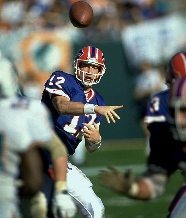 From 1986 until an injury ended his 1996 campaign, Kelly was a remarkable force in Buffalo's no-huddle offense.   His Credentials:  Inducted into NFL Hall of Fame in  2002, five-time Pro Bowl selection, three-time All-Pro, led Bills to  four consecutive Super Bowl appearances, ranked No. 18 all-time in  passing yards   Others in Consideration:  Darrelle Revis (2007,  Jets); Jeremy Shockey (2002, Giants); Eddie George (1996, Oilers); Ruben  Brown (1995, Bills); Randy Gradishar (1974, Broncos)
