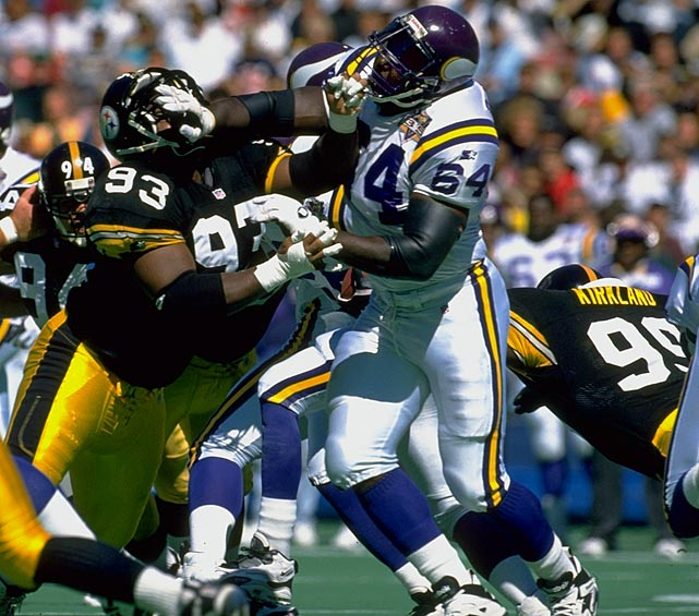 McDaniel didn't play a high-profile position, but he absolutely dominated at guard.   His Credentials:  Inducted into NFL Hall of Fame in  2009, 12-time Pro Bowl selection, nine-time All-Pro, named to NFL's  All-Decade Team for the 1990s, started 220 career games and 202  consecutively   Others in Consideration:  Casey Hampton (2001,  Steelers); Shaun Alexander (2000, Seahawks); Marvin Harrison (1996,  Colts); Joey Browner (1983, Vikings); Jack Tatum (1971, Raiders)