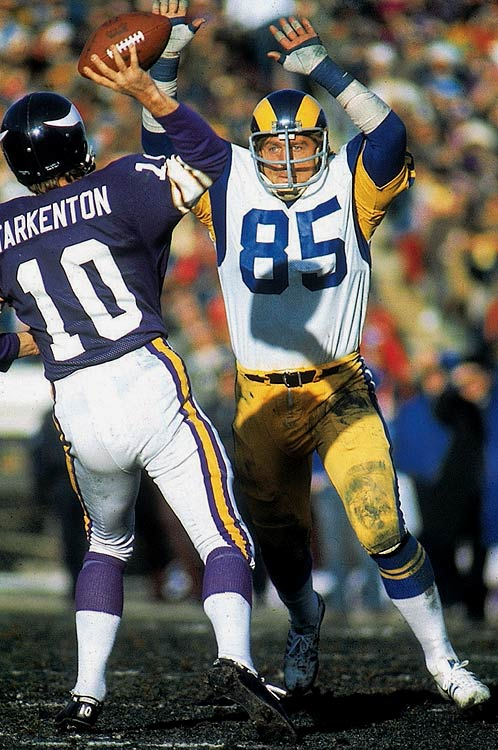 Youngblood played a remarkable 201 straight games, missing his first and only contest in 1984, his final season.   His Credentials:  Inducted into NFL Hall of Fame in  2001, seven-time Pro Bowl selection, five-time All-Pro, NFC Defensive  Player of the Year in 1975 and '76, named to NFL's All-Decade Team for  the 1970s, missed just one game in 14-year career   Others in Consideration:  Tamba Hali (2006, Chiefs); Steve Atwater (1989, Broncos); Haywood Jeffires (1987, Oilers); Mike Quick (1982, Eagles)