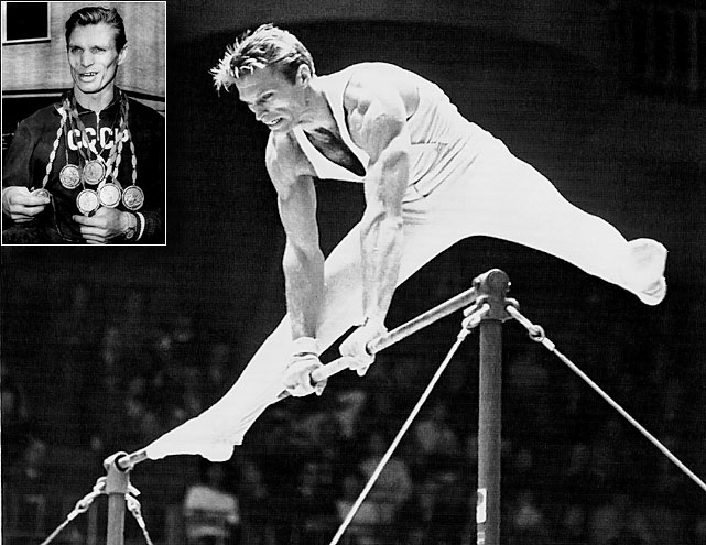 After starting gymnastics at age 12, Shakhlin claimed gold medals in all three Olympics in which he participated and 13 in all.  Unfortunately, his career was cut short when he was forced to retire after a heart attack two years after he last won a medal.