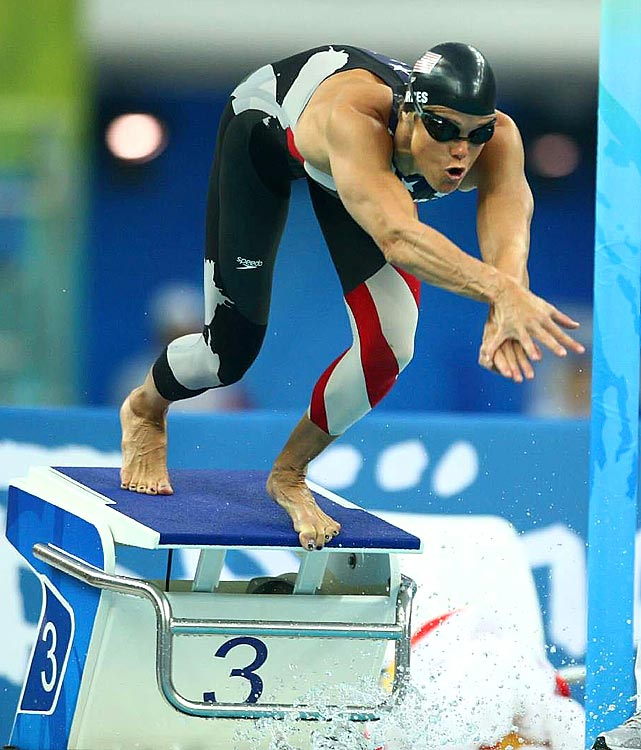 Torres is the only American swimmer to compete in five Olympics.  As a member of the 2008 team, she was the oldest swimmer to ever earn a medal in the Games.  She earned three silver medals in Beijing, bringing her total to 12.