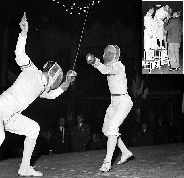 The first European to crack the list is Italian fencer Edoardo Mangiarotti.  His Olympic medal-winning career encompassed four decades and six Olympic venues.  By the time he had finally decided to retire in 1961, Mangiarotti had earned six gold medals, five silver and two bronze.