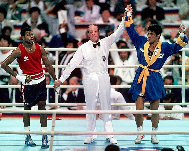 There have been many controversial decisions in the Olympics through the years, but few worse than what Jones experienced. The 19-year-old American landed 86 punches to Park's 32 when they met in the gold-medal match and forced a standing eight count in the second round, but somehow lost the fight 3-2 when it went to a decision. Years later, Jones was awarded the Olympic Order, which is given to individuals for a particularly distinguished contribution, though it's rarely given to active athletes.