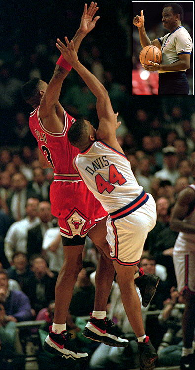 Just when it looked as if the Bulls would survive the Knicks in Game 5 if the 1994 NBA Eastern Conference semifinals, Pippen was called for a foul on Hubert Davis, who was in the act of shooting a 23-foot jumper. With New York down one, Davis sank both shots and the Knicks held on for the 87-86 win -- going on to win the series in seven games.