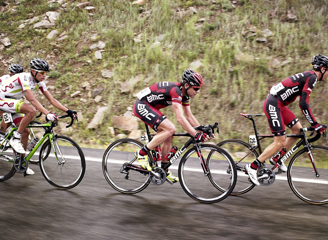 Cadel Evans (center), the winner of the 2011 Tour de France, raced with Team BMC. Evans helped BMC's Tejay van Garderen finish second overall.
