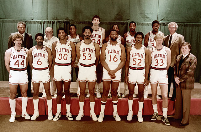 The Eastern Conference All-Stars take their team photo. Check out Larry Bird, front row right (#33).