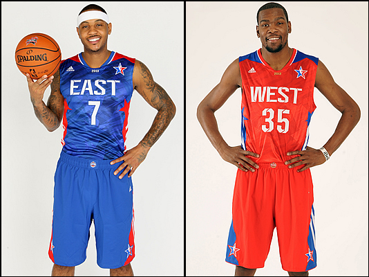 Carmelo and Durant model the uniforms they'll be wearing in Houston in a couple of weeks.