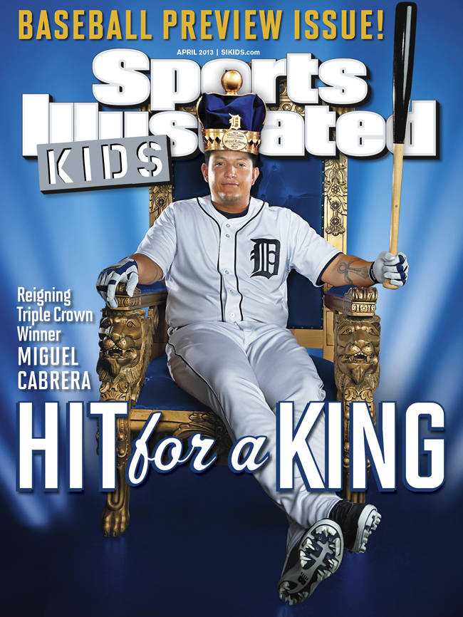 For our 2013 MLB preview issue, AL MVP and Triple Crown-winner Miguel Cabrera sat down for a cover shoot. You can see the photo we used in this picture, but we've got a ton more we wanted to share, including his photo with the studio's bulldog that wandered through the shoot.