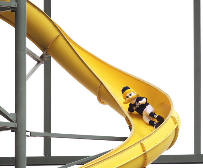 With a 25-foot-high climbing wall and Bernie going down the slide every time a Brewer hits a home run, Miller Park is the best!