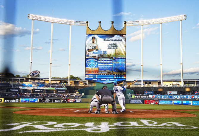 Kauffman Stadium is known for its amazing architecture. And it was once home to the world's largest HD video screen (called Crown Vision) until it was surpassed by Cowboys Stadium. Also, nothing beats the world famous Kansas City barbecue that is served throughout the park!