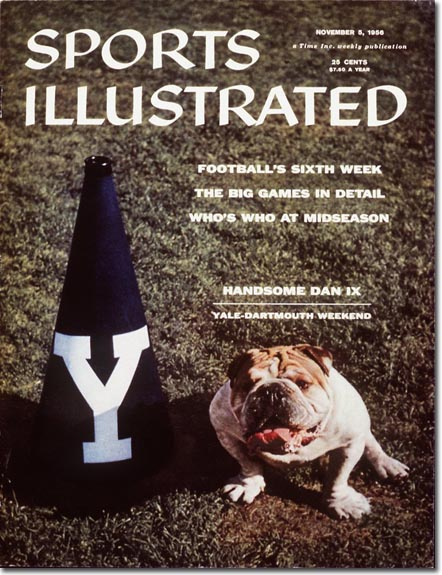 In the 1950s, Ivy League football still mattered, so Yale's bulldog, Handsome Dan IX got a cover before Yale's game with Dartmouth