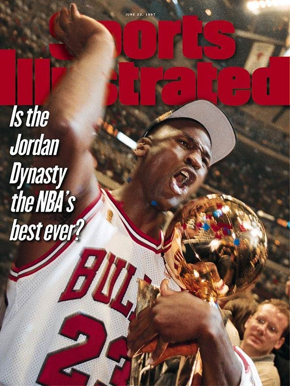 With a career Finals average of 33.6 points per game, Jordan led the Chicago Bulls to six NBA titles and was named the Finals MVP each time. His most famous moment was a buzzer-beating shot to seal a six-game series win over the Utah Jazz in 1998. It was the final title of his career.