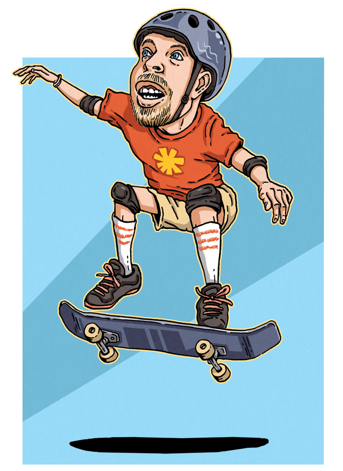 <p>The first time you practice an ollie you can do it without even rolling. You want to bring your front foot pretty close to the middle of the board. With your back foot, your toes should be at the center of the tip of your tail.<br /><br />When you jump, you want to push down with your back foot so your tail hits the ground. But you want to be light on your back foot once your board hits the ground -- if you're too heavy, the board won't come back up. <br /><br />The front of the board is going to rise up. Roll your front foot and slide it forward. That will make the back of the board come up. It takes practice, but eventually you'll find that perfect pressure and that perfect rhythm.</p>