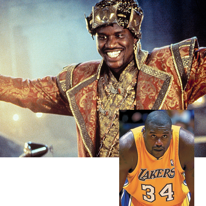 "On the hardwood, O'Neal dominated the paint. On the big screen, he granted wishes and fought crime. In 1996, the 7'1"", 325-pound center transformed into an affable genie in the family film <i>Kazaam</i>. The next year he took the lead role in <i>Steel</i>, in which he played an armored superhero."