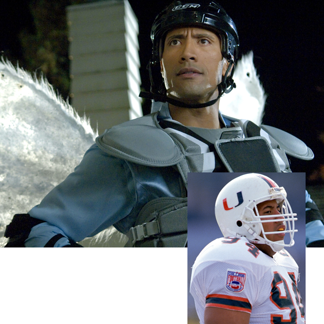 Dwayne Johnson was an intimidating defensive tackle for the 1991 championship-winning Miami Hurricanes and was known in the WWE as the Rock. But on the big screen he showed that he had a softer side in films like 2010's <i>Tooth Fairy</i>, putting on tights and wings to play the title role.