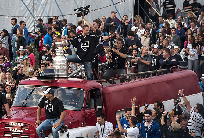 Marian Gaborik #12 of the NHL Los Angeles Kings celebrates with the Stanley Cup trophy in front of festival-goers at the Pohoda 2014 open-air music festival on a plain next to Trencin's Airport on July 11, 2014 in Trencin, Slovak Republic. Pohoda is the biggest Slovak music event organized annually, since 2010 the festival capacity is limited to 30,000 visitors.