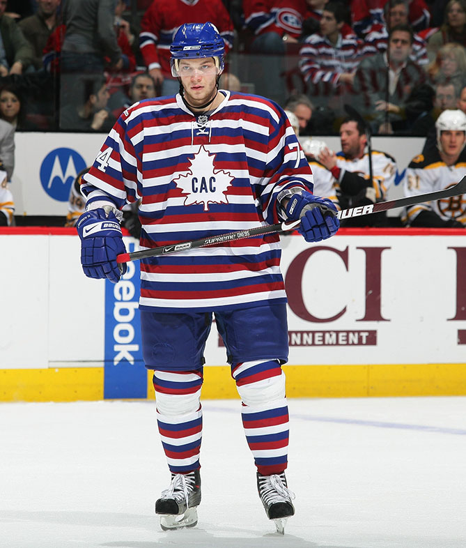 "In 2009, the Montreal Canadiens brought back the ""barber pole"" jersey, first designed in 1912. The uniform (worn here by winger Sergei Kostitsyn) isn't too terrible by itself, but picture a whole team on the ice skating around. Dizzy yet?"