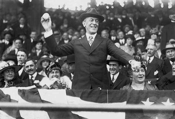 President Wilson threw out three first pitches and attended a total of 11 games as president, 10 in Washington and one in Philadelphia. He was became the first president to attend a World Series game on October 10, 1915, a 2-1 Boston Red Sox win over the Philadelphia Phillies. Wilson played baseball as a freshman at Davidson College. And despite having a presidential pass from MLB to go to games, he never used it. Instead, he payed for the games he attended.