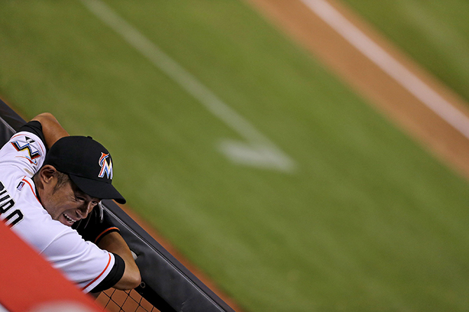Ichiro Suzuki #51 of the Miami Marlins looks on from the dugout during the fourth inning of the game against the Tampa Bay Rays at Marlins Park on April 10, 2015 in Miami, Florida.