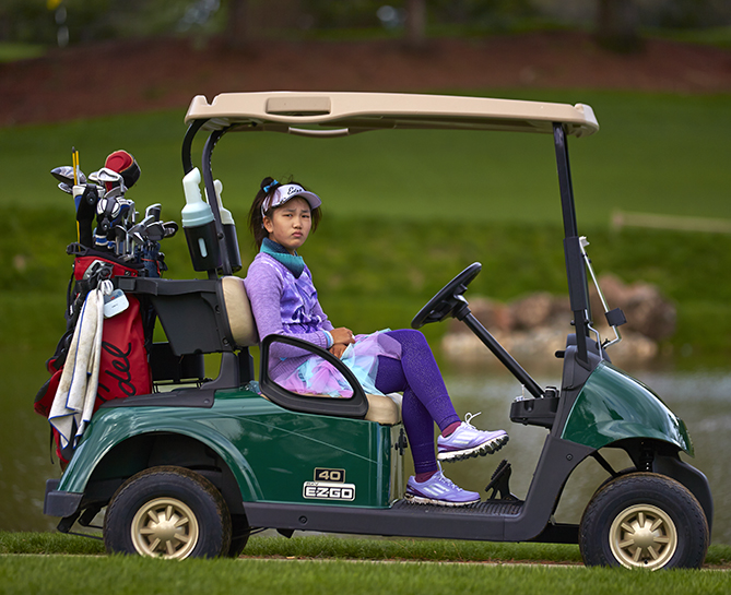 Off we go! Our nine-hole match was at the scenic Palo Alto Hills Golf and Country Club, where Lucy is an honorary member. She wore one of her famous colorful skirts. Safe to say, I was the more conservative dresser.