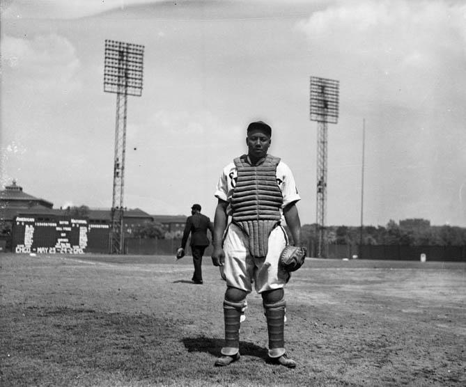 Homestead Grays baseball catcher Josh Gibson standing on Forbes Field, 1942
