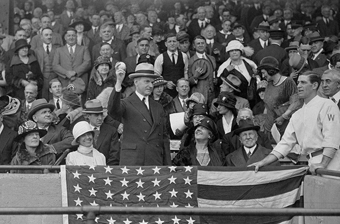 "President Coolidge tossed three first pitches, including two at a double-header, and attended a total of 10 games, all in Washington. First Lady Grace Coolidge was an expert scorer, and by all accounts a much bigger fan of baseball than her husband. ""[Mrs. Coolidge] knew a lot more about baseball than he did,"" columnist Shirley Povich wrote, ""but so did everybody else."""
