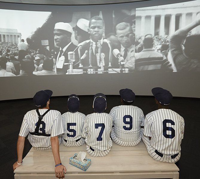 The players took in a film at the National Center for Civil and Human Rights in Atlanta.