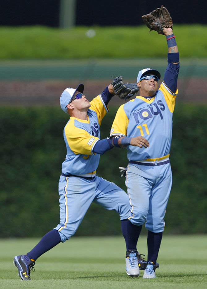 """Because the Tampa Bay Rays joined MLB in 1998, there aren't many options for throwbacks. So last year, when shortstop Yunel Escobar and the Rays faced the Cubs on a 1980s-themed night, the club unveiled a fake throwback, or """"fauxback."""" All we can say is, thankfully the decade is over."""