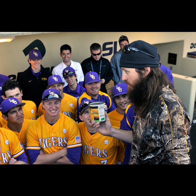 Last season, the LSU baseball team was gifted a can of corn from Duck Dynasty's Jase Robertson. Senior Joey Bourgeois kept of the team's 'rally corn' safe, taking it from game to game, all the way to the College World Series in Omaha.