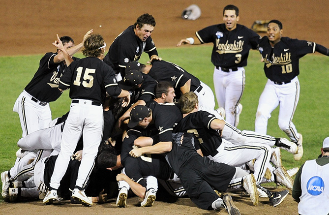 "Vanderbilt infielder Dansby Swanson helped his baseball team win the College World Series in 2014 — and lived to tell the tale.                   <p>                   ""You feel like there's a truck on top of you. The people who fall off on top just keep jumping back on. It's a constant heavy pressure. It doesn't smell too good, either. After we beat Stanford to get to the College World Series, I jumped on the dog pile. I basically sunk all the way through and got a couple cleats to the face. I ended up getting a cleat mark right next to my eye. It was kind of funny, but it was actually a pretty close call to getting spiked in the eye. I absolutely, 100% learned a lesson. [After we won the title,] I was one of the first ones in there, but I waited for a few seconds before I jumped on."""