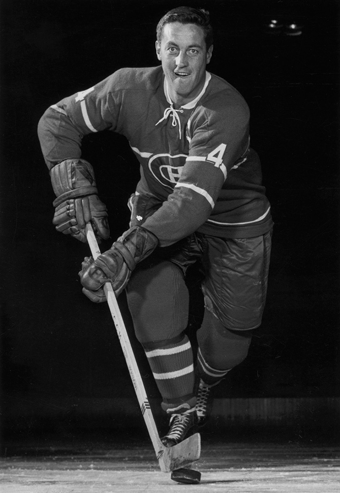 Beliveau poses for an action portrait at the Montreal Forum in Montreal, Quebec, Canada.