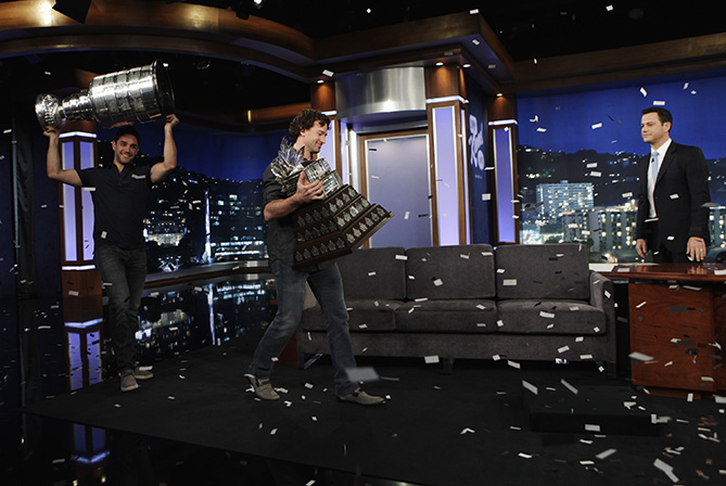 """Stanley Cup Champions Justin Williams and Alec Martinez of the Los Angeles Kings) stop by """"Jimmy Kimmel Live."""""""