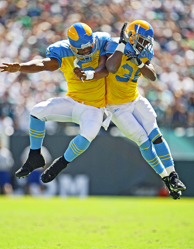 Eight years ago, the Philadelphia Eagles went seriously nontraditional (and failed) with powder blue and yellow, the same colors as the Philadelphia flag. In the game, QB Donovan McNabb and RB Brian Westbrook beat the Lions 56--21. But let's not get any silly ideas.