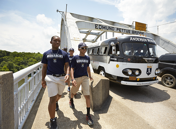 The Monarchs visited the site of a 1965 protest march.