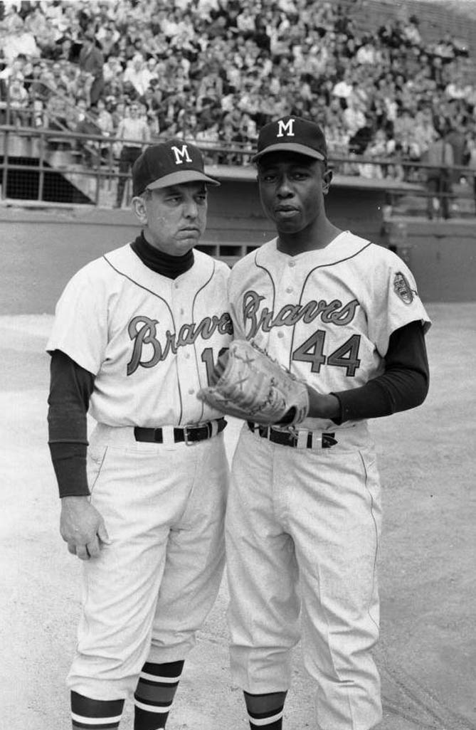 Two Milwaukee Braves baseball players, including no. 44 Hank Aaron, posing at Forbes Field