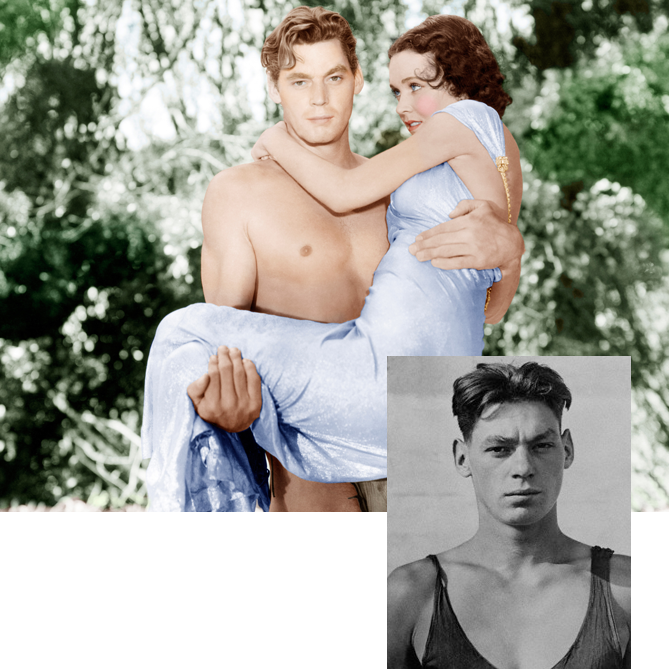 Johnny Weissmuller displayed his upper-body strength in the pool — winning five Olympic gold medals and setting 67 world records in the 1920s — as well as in his second career as the tree-swinging Tarzan. Weissmuller starred as the famous ape man in 20 films throughout the 1930s and '40