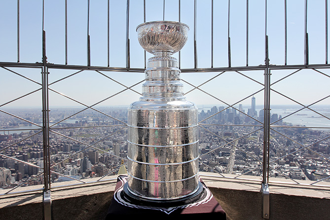 The Stanley Cup rests on the observation deck of the Empire State building during a media event on April 26, 2013 in New York City. The event was held in celebration of the upcoming 2013 Stanley Cup Playoffs.
