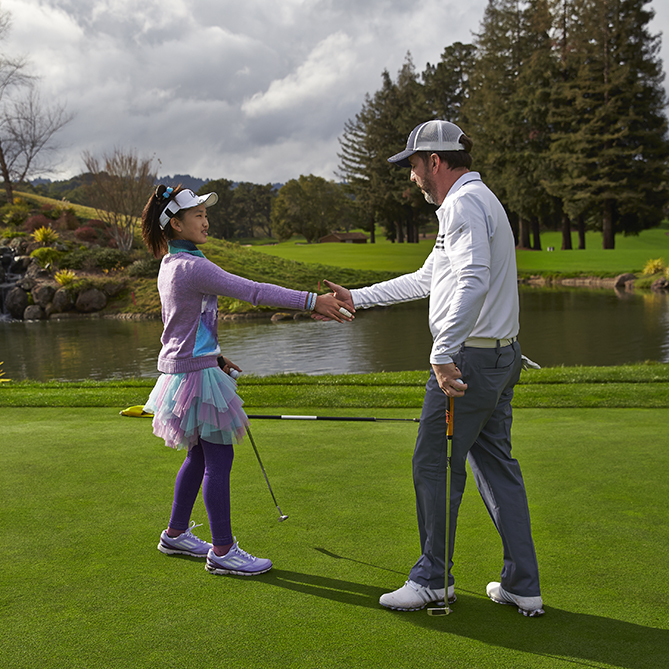 """Lucy finished with an even-par 36. I shot a 47. After it was over, she paid me quite a compliment. """"You're not bad,"""" she told me."""